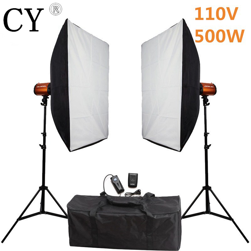 Godox Smart 250SDI Photography Softbox Flash Lighting Kits 500ws 110V Flash Light Lightbox Stand Set Photo Studio Accessories