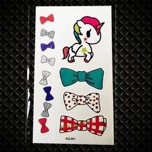 Cute Unicorn Pony Horse Bow Bowknot Temporary Tattoo Sticker For Kids Children Gift Waterproof Cartoon Tattoo Stickers GAQ41