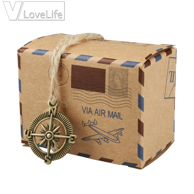 50x Wedding decoration Vintage Air Mail Global Brown Paper Candy Box ...