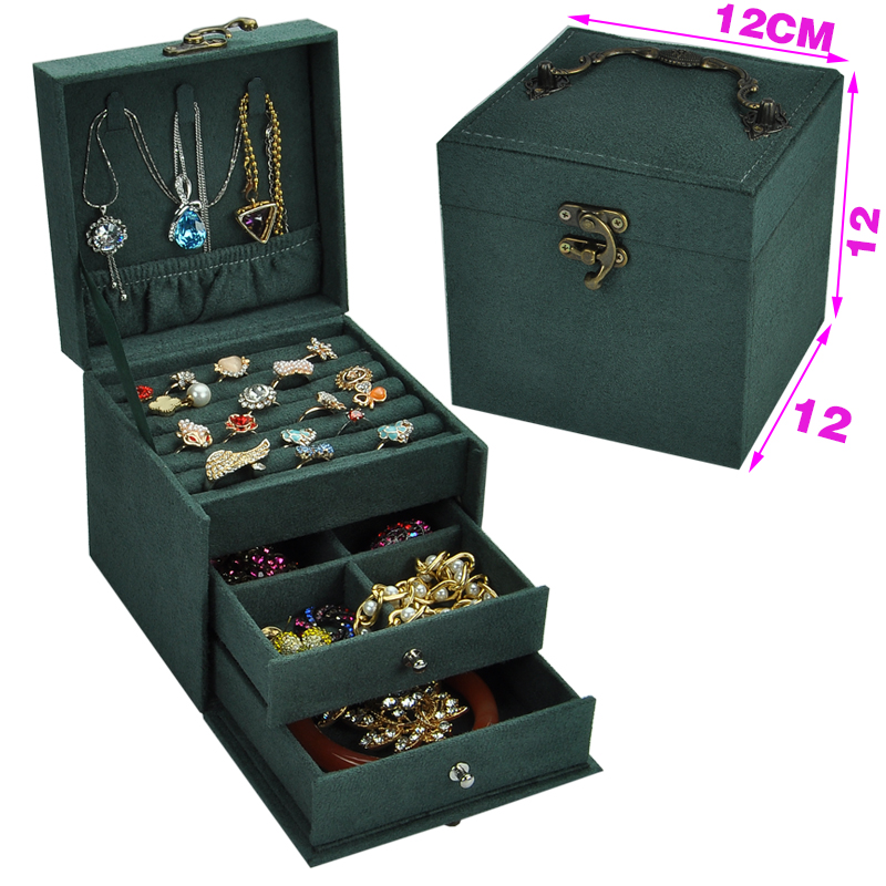 hot sell protable Velvet jewelry organizer jewel case box girls 3 layers new style jewelry gift box for christmas day makeup organizer box