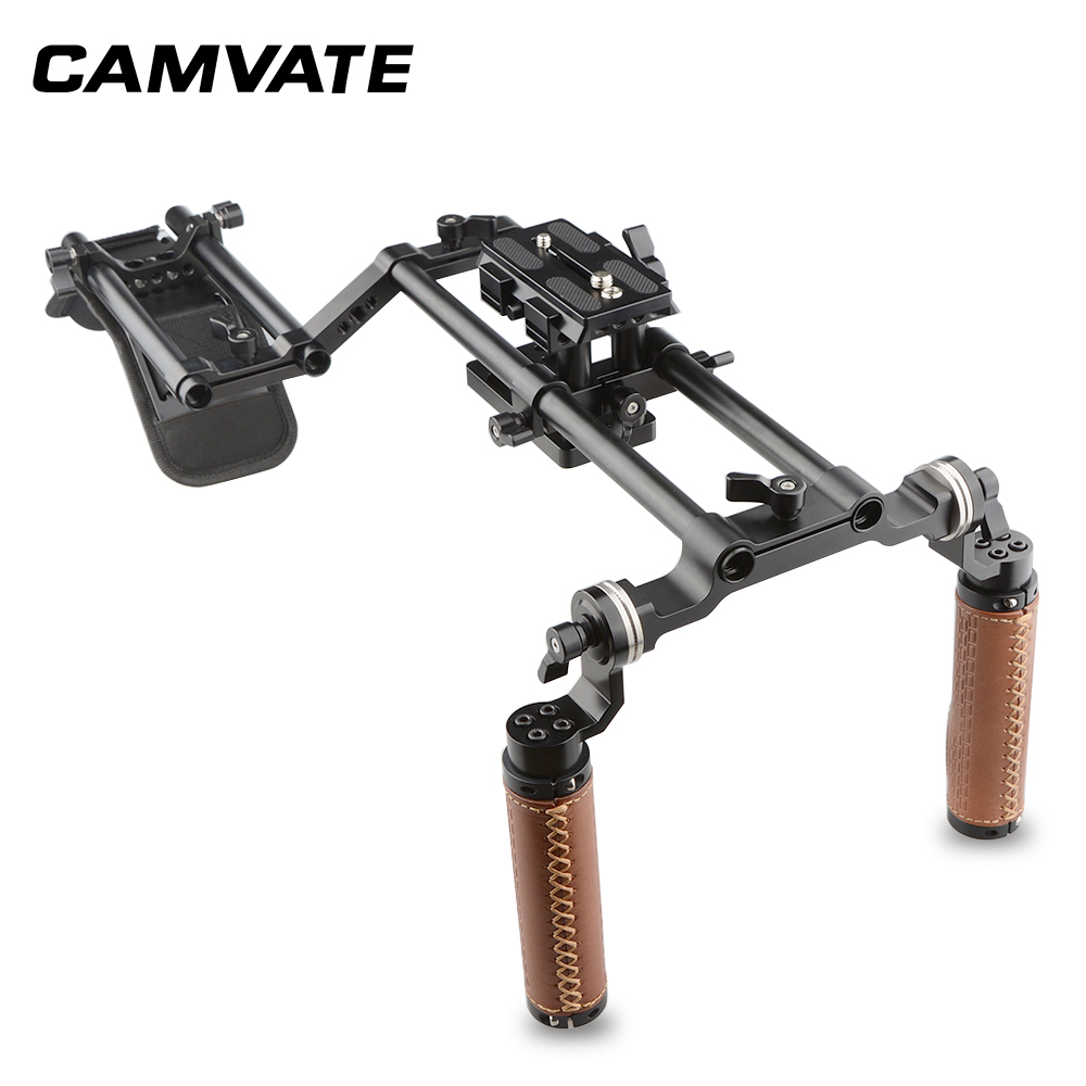 CAMVATE Dslr ショルダーマウントリグデュアルハンドグリップサポートキット C1769フォトスタジオ用アクセサリー   -