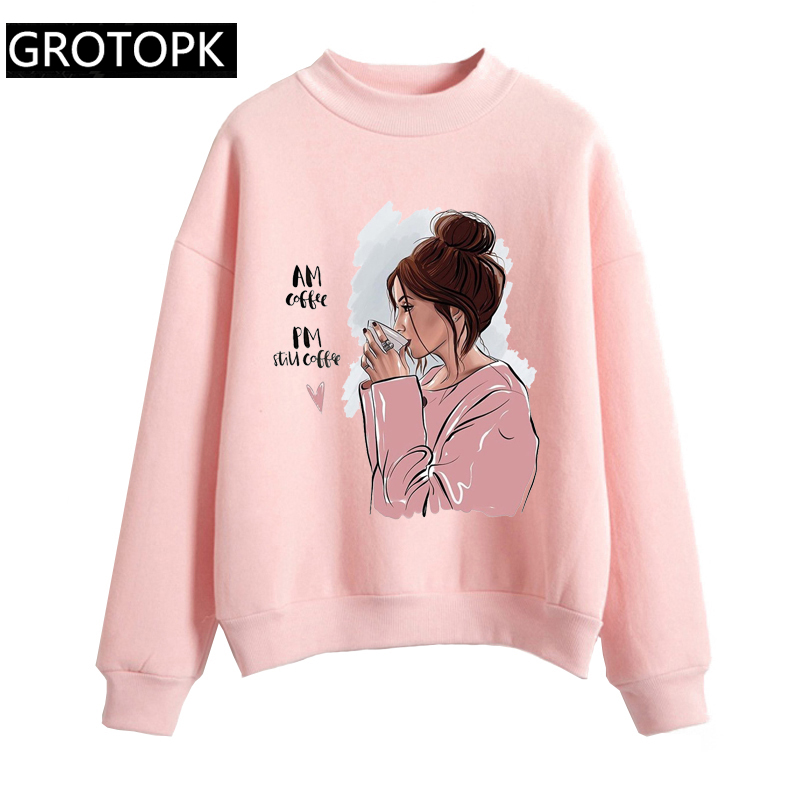 I Love Coffee Women Hoodie Sweatshirt Kawaii Girl Casual O-Neck Loose Hoodie Autumn Long Sleeve Hoodies Sweatshirts Sweat Femme