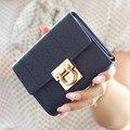 Latest Tri-Folds Luxury Women Leather Short Wallet Metal Hasp Lock female Change Purse Card Holder carteras Girls Clutch Wallets