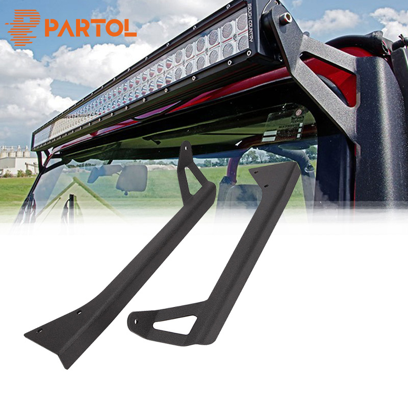 Partol 2/pcs Steel 50 Straight LED Light Bars Mounting Brackets Fit for Jeep Wrangler YJ 1987-1995 Upper Windshield Mount Kits
