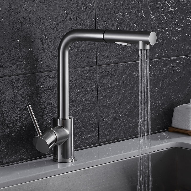 Swiveling Kitchen Faucet Brass Brushed Nickel High Arch Kitchen Sink Faucet Pull Out Rotation Spray Mixer Tap Torneira Cozinha