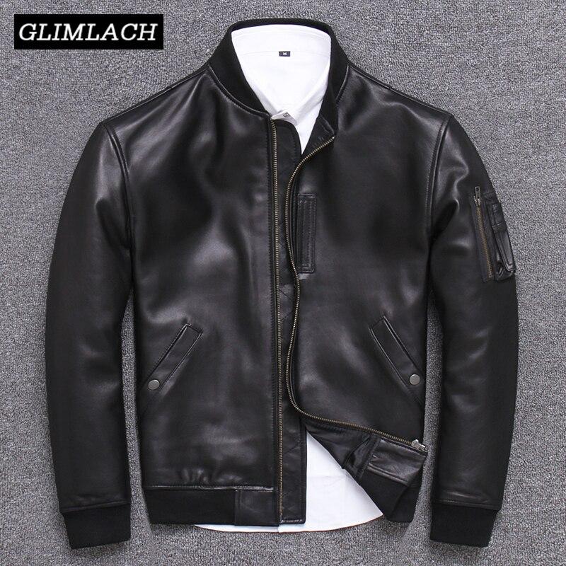 Japan Style Pilot Sheepskin Aviator Jackets Men Plus Size 5XL Natural Real Leather Bomber Jacket Stand Collar Aviation Coats New