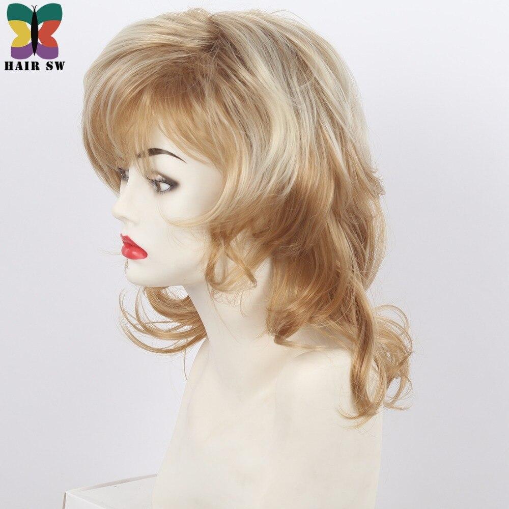 Kvinnors Medium Längd Shag Fluffy Curly Synthetic Wig Light Röd - Syntetiskt hår - Foto 2