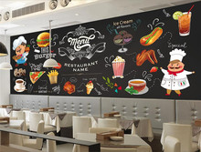 Customize any size wallpaper HD Hand-painted Western Restaurant Burger Pizza Shop Background wallpaper for walls 3 d цена 2017