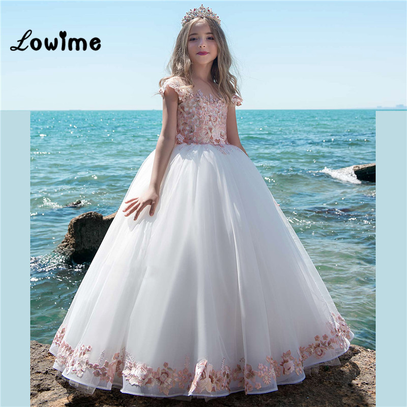New Arrival   Flower     Girl     Dresses   Vestido Daminha   Girls     Dresses   2018 White With Pink Applique Pageant   Dresses   For   Girls   On Sale