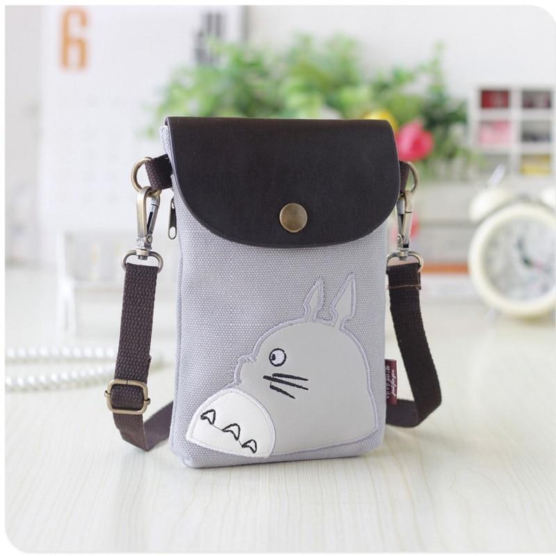 Canvas & PU leather cartoon totoro coin change purses small phone pouches mini cross-body bags handbags bolsas for girls boys
