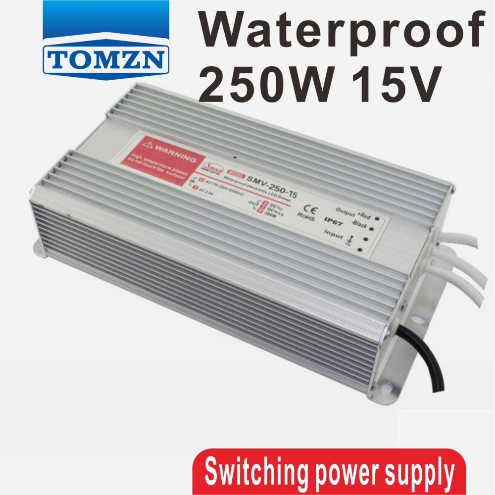 250W 15V 16.6A Waterproof outdoor Single Output Switching power supply for LED SMPS single output switching mode power supply mini size ms series ms 250w 15v smaller volume led power suppliers 250w 15v 15a