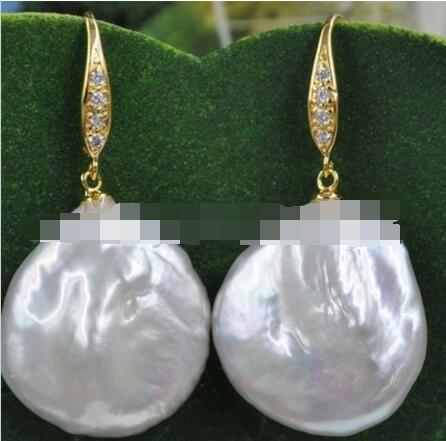 Smooth luster 20mm Similar Baroque FW pearl earring 925 silver Smooth luster 20mm Similar Baroque FW pearl earring 925 silver
