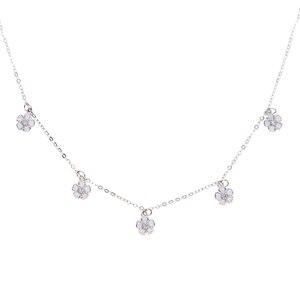 white pink enamel daisy flower charm choker 925 sterling silver 2020 summer cutest lovely new flower elegant necklaces(China)
