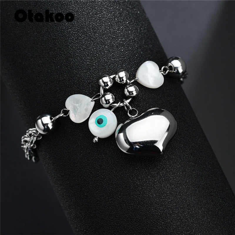 Otakoo Silver Color  Heart Bracelet For Women Statement Stainless Steel Fashion Charm Couple Beads Bracelet Jewelry