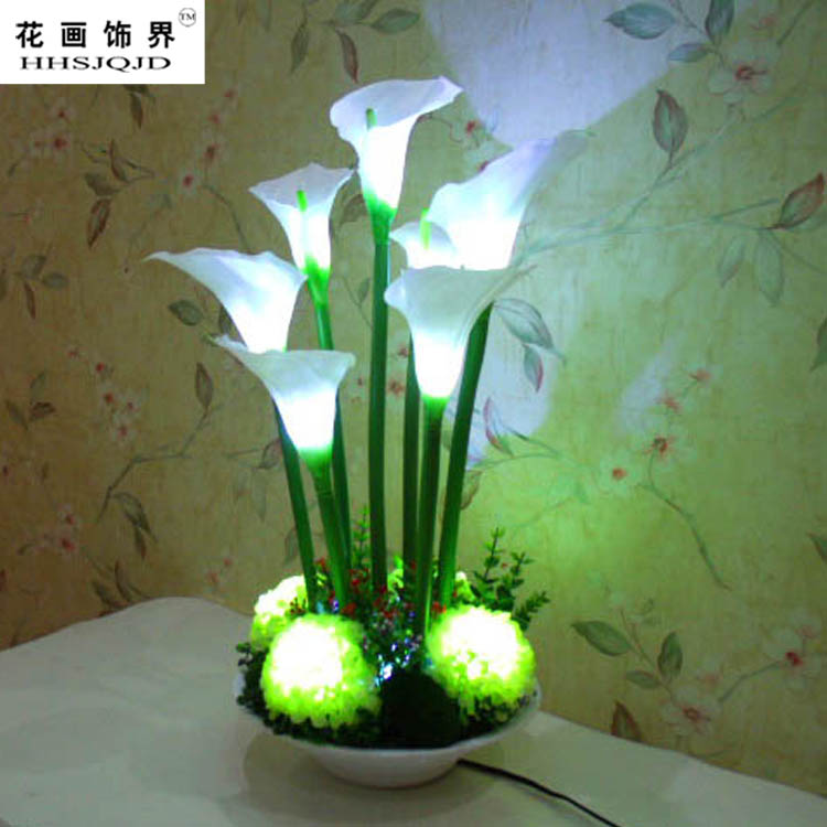 Led Flower Decorative White Calla Lily Silk Flower Table Lamp In