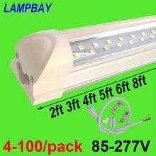 4 100/pack led 튜브 조명 2ft 3ft 4ft 5ft 6ft 8ft 슈퍼 브라이트 t8 통합 전구 더블 행 램프 고정 장치 트윈 바 조명