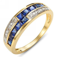 Wholesale fashion ladies AAA Zircon Jewelry female Blue sapphire rings 18K Gold Filled Ring for Woman's Free Shipping R011YBS