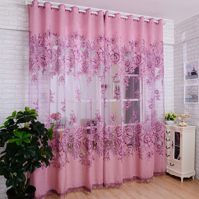 1 PC Embroidered Voile Curtains Bedroom Sheer Curtains for Living ...