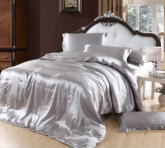 Silver Bedding Sets Grey Silk Satin Cal King Size Queen Double Quilt Duvet  Cover Fitted Bed