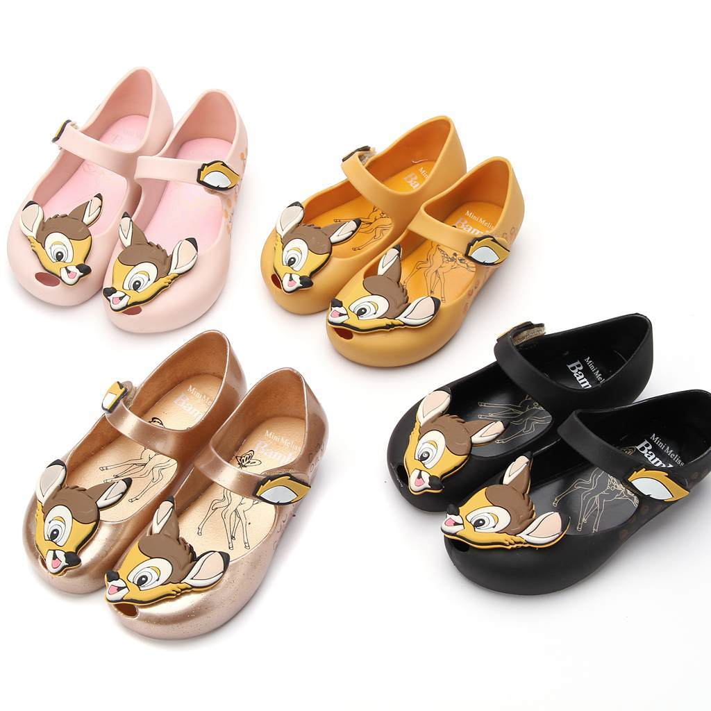 summer 2018 Mini Melissa Deer Bambi Shoes Printed Flower New Winter Jelly Shoe Sandals Fish Mouth Girl Non-slip Kids Sandal