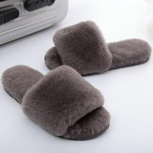 Image 4 - Millffy pelliccia di lana pantofole a casa di aria condizionata in camera pantofole di pelle di pecora pelliccia pantofole scarpe da casa delle donne