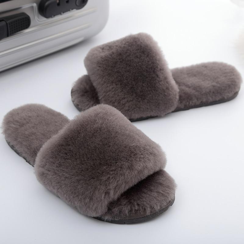 Image 4 - Millffy ウール毛皮ホームスリッパ空調室シープスキンスリッパファースリッパ家庭の靴レディーススリッパ   -