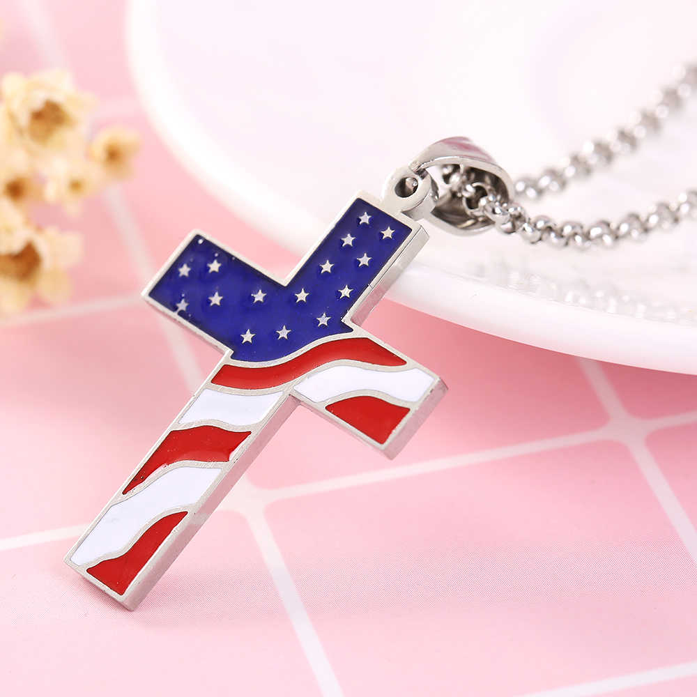 Classic simple stainless steel Cross men pendant charms American flag cross Titanium steel pendant necklace