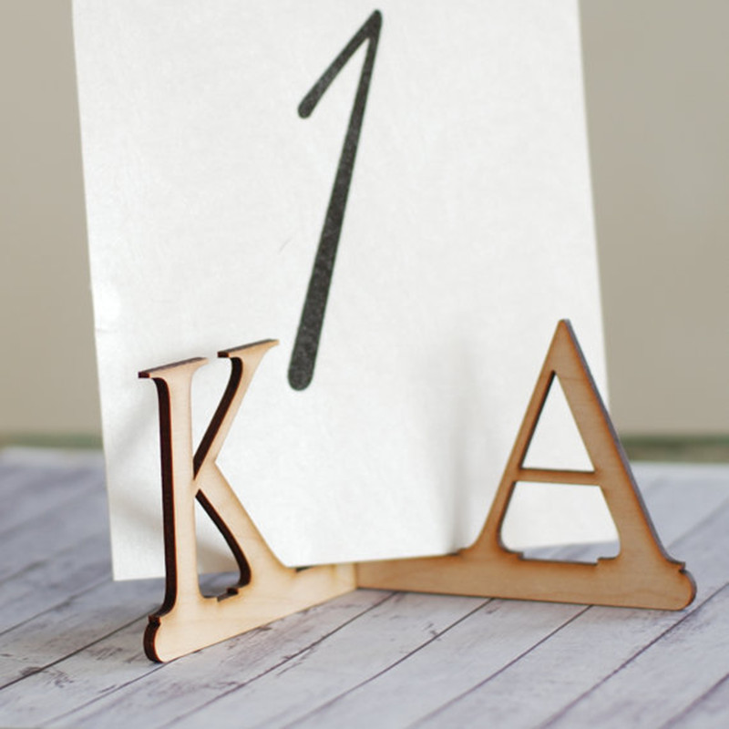 10x Personalized Customized Wood Wooden Table Number Holder Stand with Monograms Wedding Menu Sign Holder DIY Party Decorations
