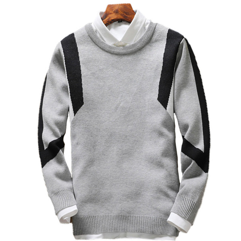 2018 autumn and winter fashion new mens casual color matching sweater / Mens Pullover Knit Warm Sweater