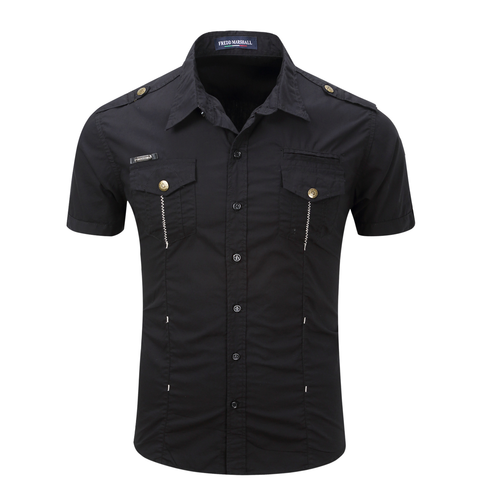 TREVOR LEIDEN Men Shirt military Mens short Sleeve Slim fitness camisa masculina Khaki Shirt High Quality Shirt men Clothes