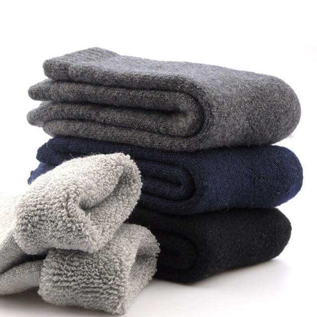 1 par mens engrossar lã térmica cashmere casual inverno meias quentes-y107