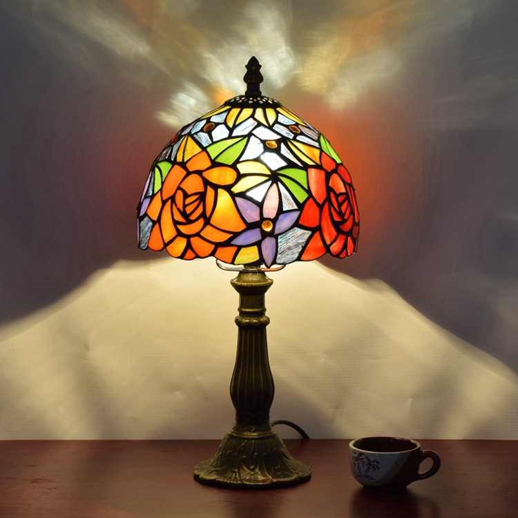Stained Glass American garden roses Creative Retro Art dining room,bedroom Bedside decorative desk lamp 110-240V Ornament lamp originality stained glass garden flower desk lamp american pastoral countryside hotel barbedside led lamp 110 240v dia 20cm
