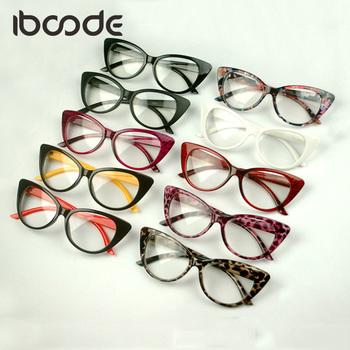 Iboode Classic Cateye okulary z przezroczystymi szkłami Sexy okulary damskie zwykłe okulary rama Vintage kocie oko eleganckie kobiece okulary tanie i dobre opinie WOMEN Z tworzywa sztucznego Stałe FRAMES Okulary akcesoria