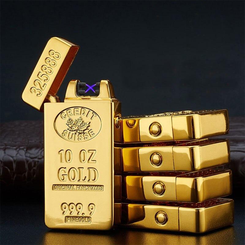 usb double arc lighter isqueiro encendedor lighters aansteker cigarette esqueiro cigar electronic gold metal gadgets for