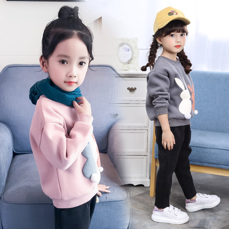 2018 Spring Baby Girls Sweatshirt Cartoon Rabbit Long-sleeve T Shirt Kids Children's Casual Thick Tops Outerwear Clothes