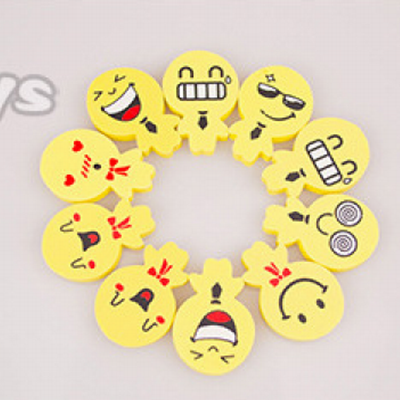DHL Free Shipping,Wholesale 1200pcs Smile Face Rubber Eraser Yellow Color Office Stationary