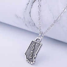 Dawapara INDIANA map pendant necklace antique sliver color metal message necklace with link chain best gifts(China)