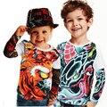 Roupas menino Meninos e meninas tatuagem camisa de manga t crianças grandes meninas roupas crianças tops bebê marca agradável manga tops t criança