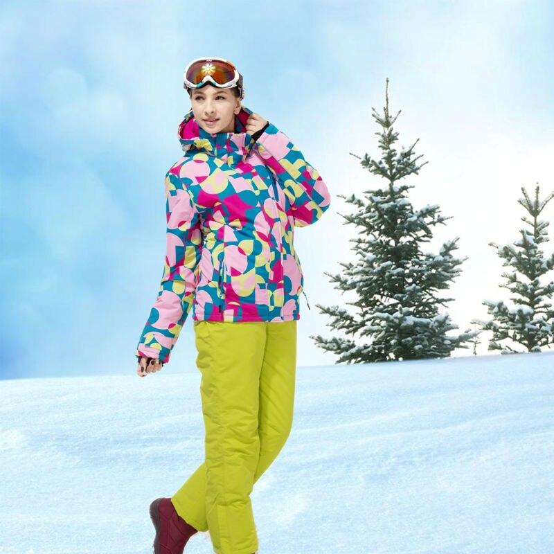 Mulheres Senhoras Terno de Esqui Jaqueta De Esqui e Calças À Prova D' Água Calor Engrossado Roupas de Inverno Caminhadas Camping Roupas WKL7080