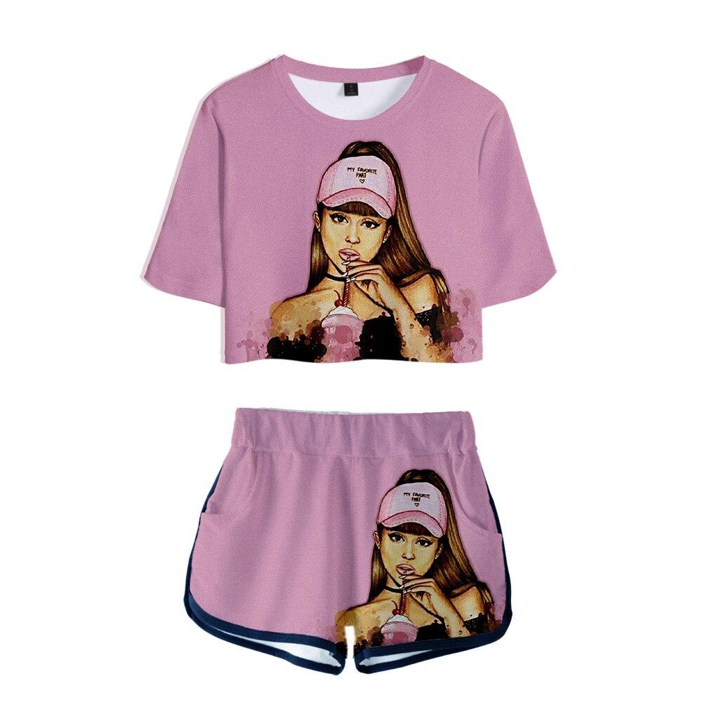 >Ariana Grande Two Pieces Sets Harajuku <font><b>Biker</b></font> <font><b>Shorts</b></font> 3d Sexy <font><b>Short</b></font> Two Piece Set Crop Tops And High Waist <font><b>Shorts</b></font> Pink <font><b>Outfits</b></font> Set