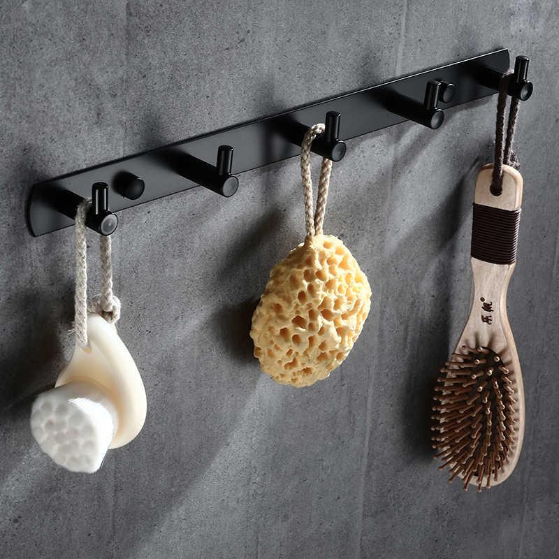 Stałe ze stali nierdzewnej czarny galwanizacja wykończenie łazienki wieszak na ręcznik hak ścienny wieszak na drzwi ubrania wieszak ścienny wielofunkcyjny