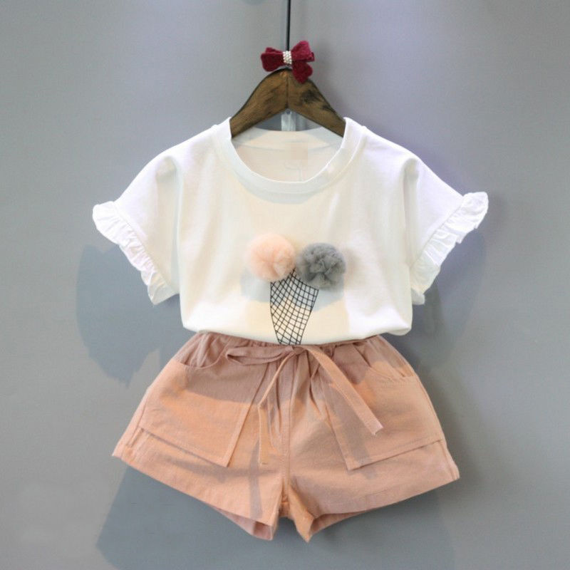 2 PZ Toddler Bambini Baby Ragazze icecream modello T-Shirt Tops + Bicchierini Floreali Pantaloni Outfit Vestiti Set