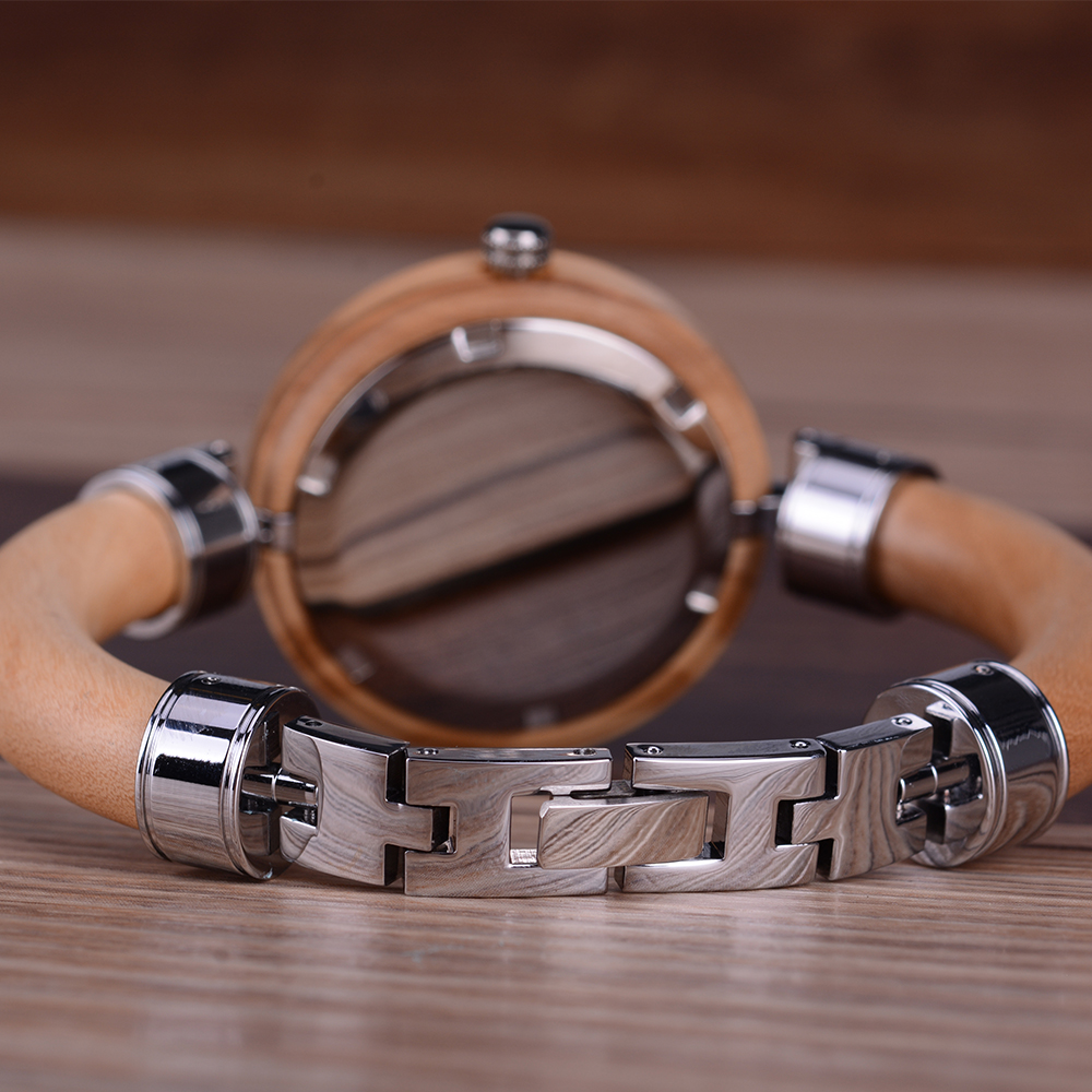 BEWELL Orologio da donna al quarzo Slimline con cinturino in legno