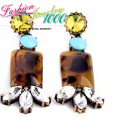 Vintage Brown And Pink Resin Stone Drop Earrings Fashion Jewelry For Women Free Shipping