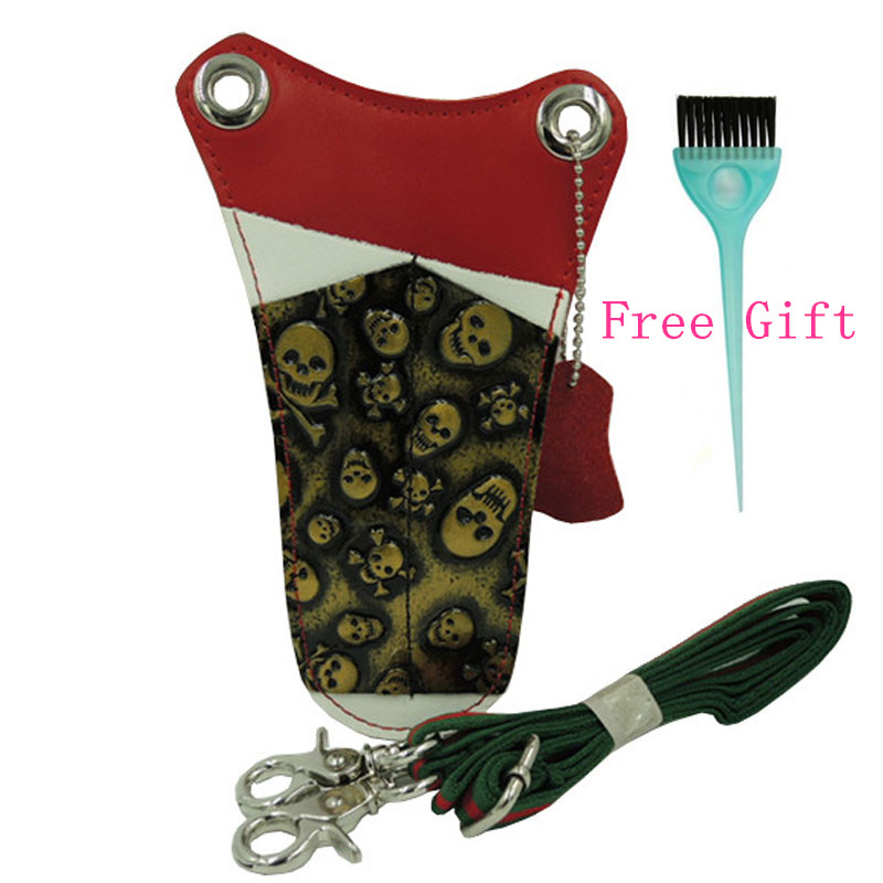 Skull PU Leather Hair Scissors Bag Waist Pack Hairpin Comb Bag Holster Pouch Removable Belt Salon Hairdressing Case Holder Tool td new design electricians waist pocket tool belt pouch bag screwdriver carry case holder outdoor working free shipping