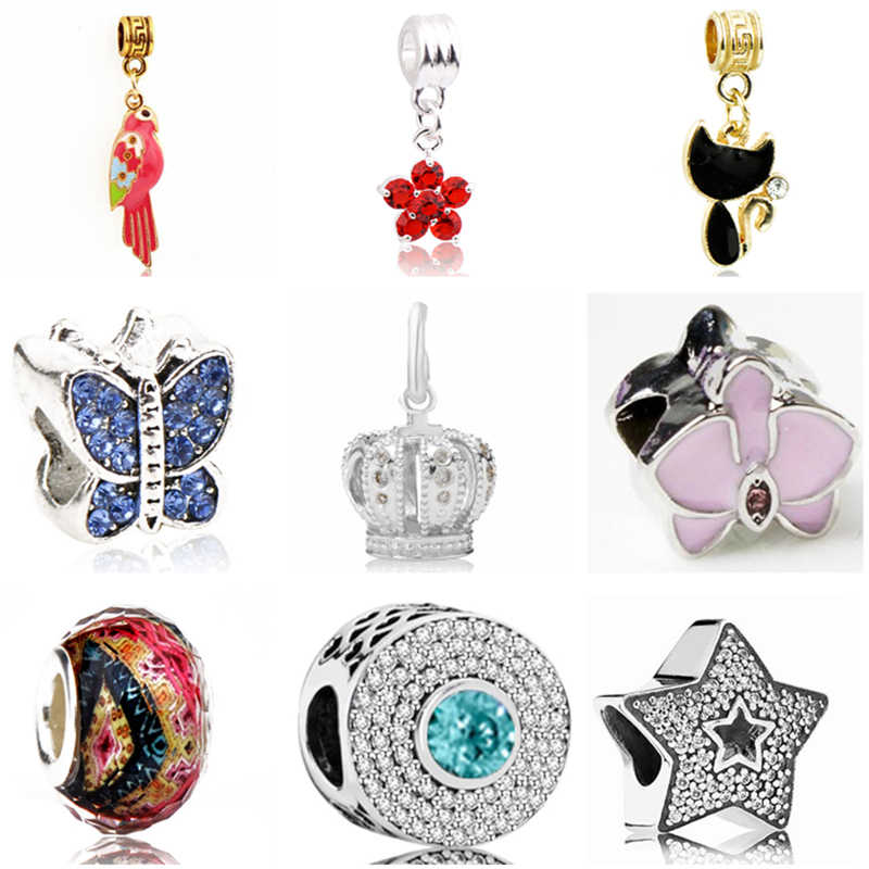 Simple Style Butterfly Cat Crown Star Flower Beads Fit Pandora Bracelets & Bangles for Women DIY Jewelry Bijoux Gifts