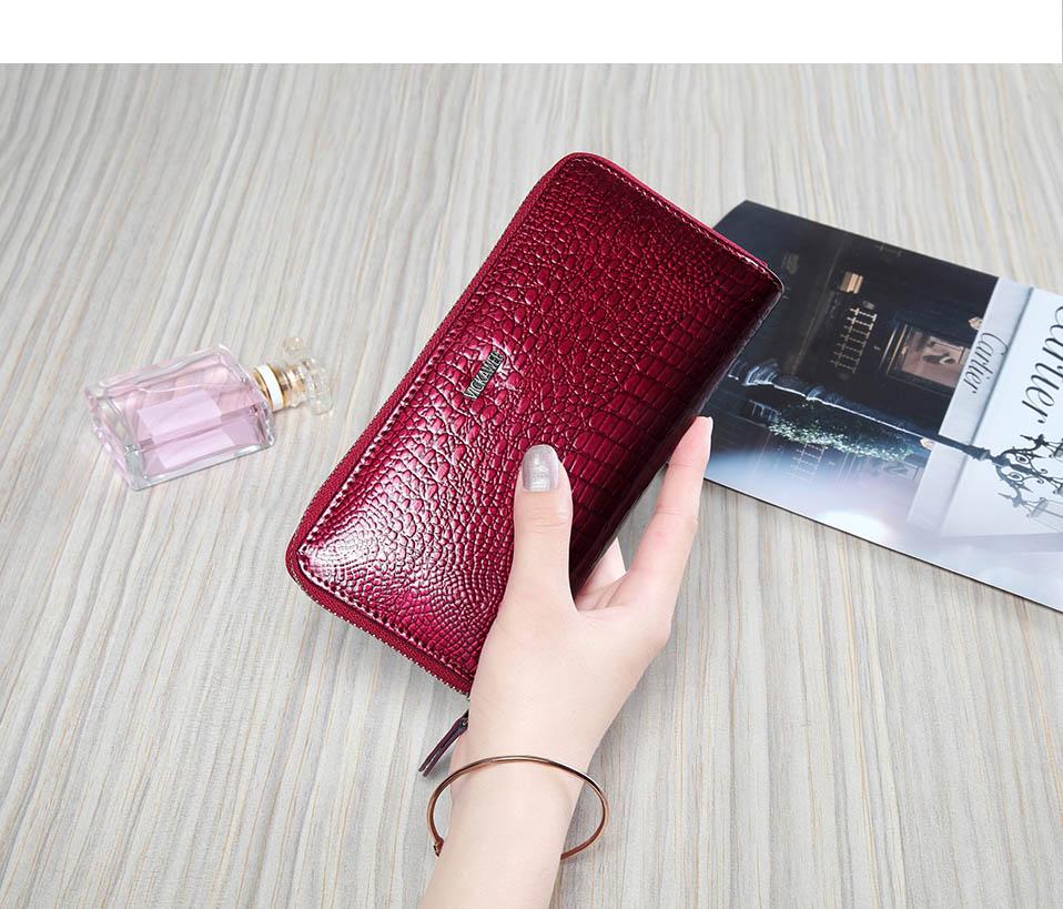 VICKAWEB Wristlet Wallet Purse Genuine Leather Wallet Female Long Zipper Women Wallets Card Holder Clutch Ladies Wallets AE38-011
