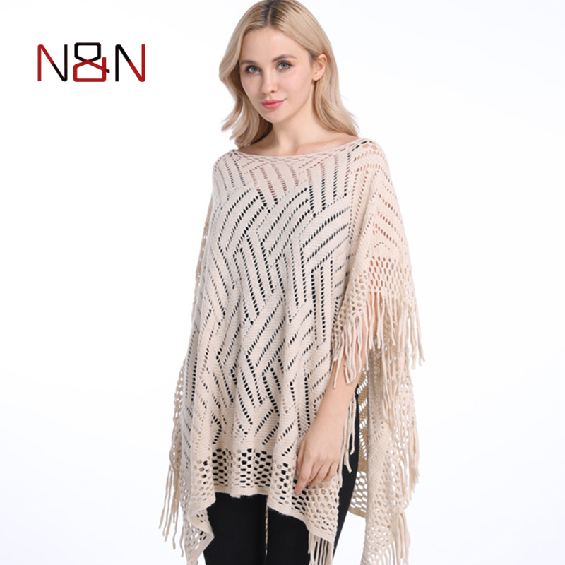 ae1fd1cf92e 2018 Summer Autumn Woman PonchoThin Sweater Solid Hollow Poncho Cardigan  Plus Size Sweaters Tassel Pullovers Bikini Cover Up