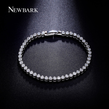 NEWBARK Luxury Bracelet With Top Grade CZ Diamond White Gold Plated Bezel Setting Charm Wedding Bracelets For Women Jewelry 19cm