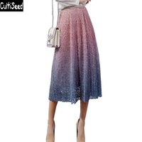 Cultiseed Women Lace Skirts 2019 Summer Gradient Color Lace Skirt for Women Fashion High Waist Pleated Skirt Long Party Skirts